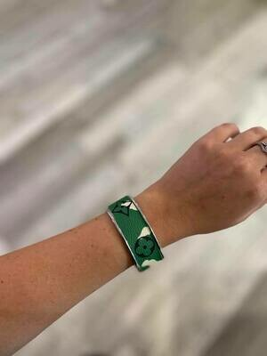 Designer LV Logo Green And White Camouflage Silver Small Cuff Bracelet