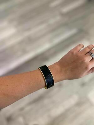 Designer LV Logo Black Silver Small Cuff Bracelet