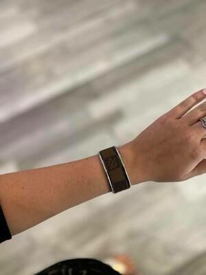 Designer LV Brown and Tan in Silver Small Cuff Bracelet