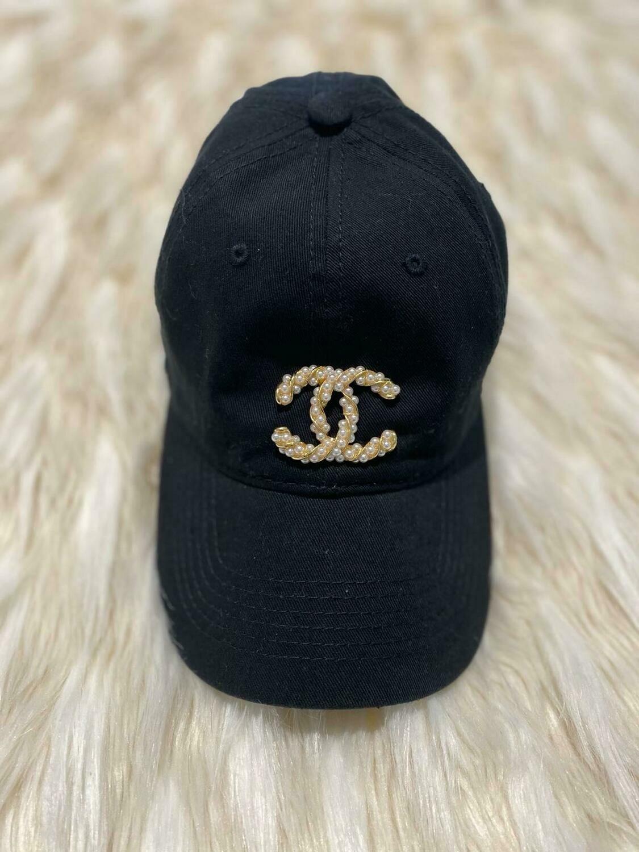 Designer Pearl Encrusted CC Baseball Hat in Black