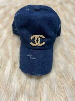 Designer Pearl Encrusted CC Baseball Hat in Denim