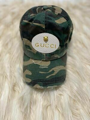 Designer GG Patch Baseball Hat in Green Camouflage
