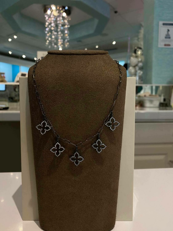 Designer LV Multi Logo Necklace In Black