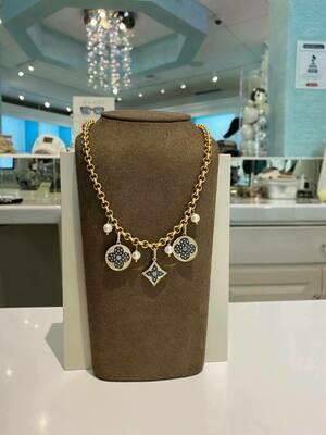 Designer LV Logo Rhinestone Necklace In Gold