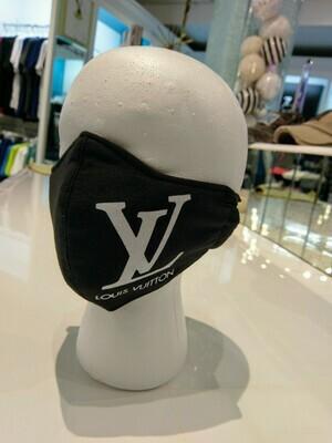 Black LV Mono Facemask