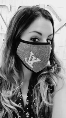 Black and Silver LV Glitter Fashion Face Mask