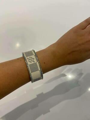 Designer LV Grey and White in Silver Small Cuff Bracelet