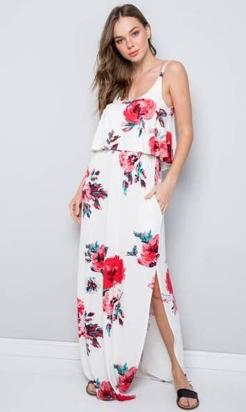 Jackie Z Floral Ruffled Top Jersey Maxi Dress