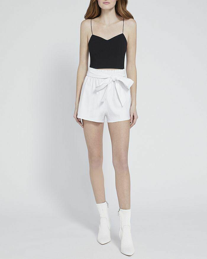 Alice & Olivia Linn Paper Bag Shorts In White