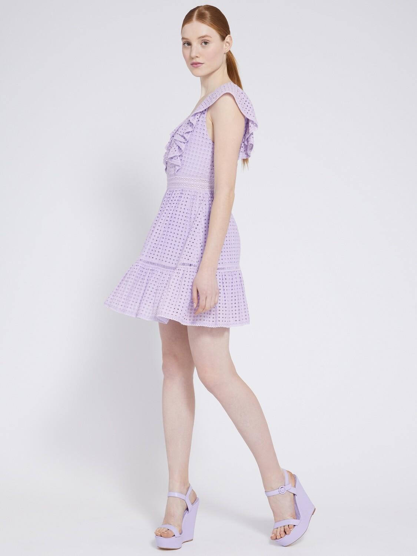 Alice & Olivia Remada Ruffle Dress In Lavender