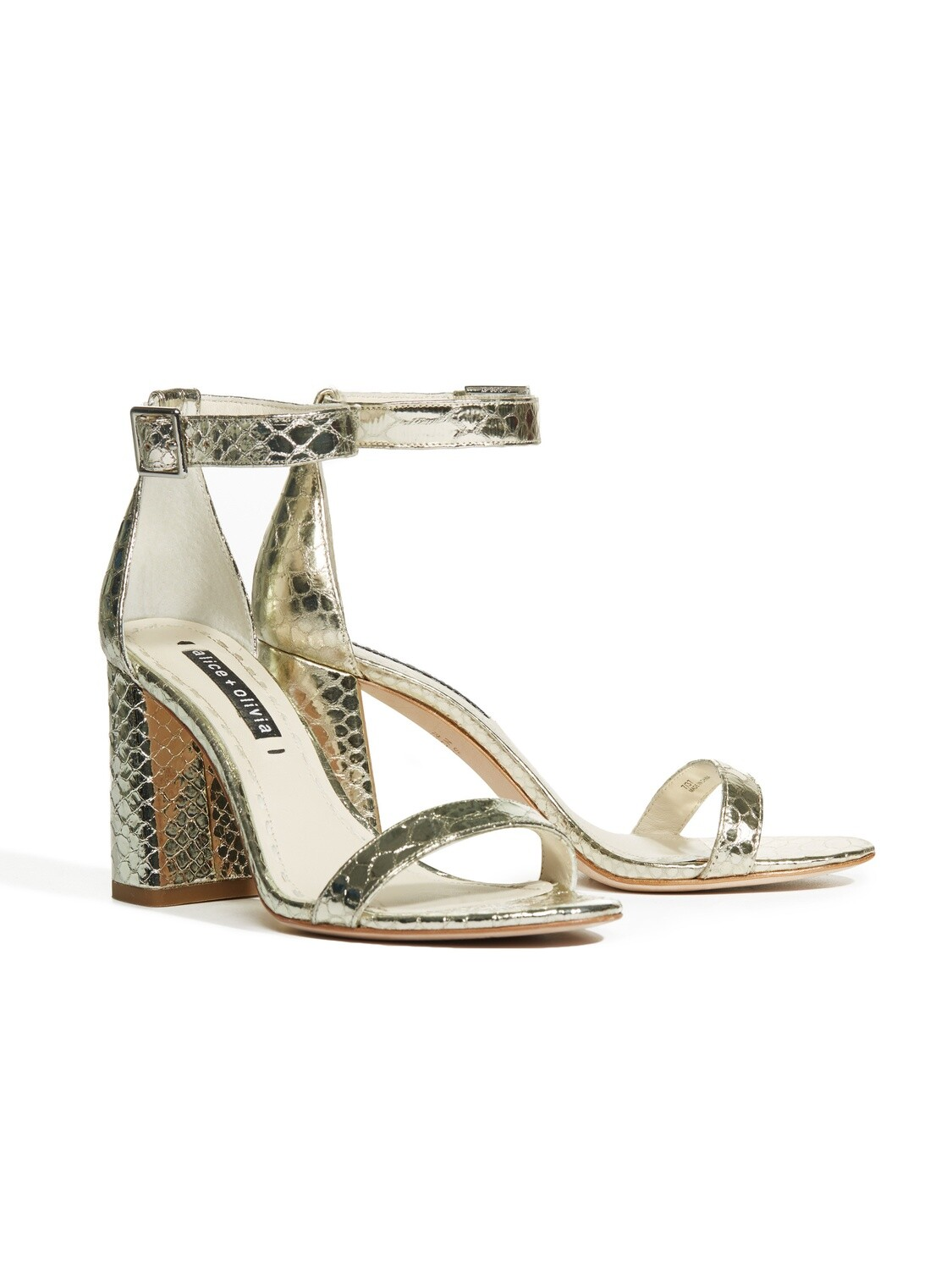 Alice & Olivia Lillian Heel In Light Gold Snake Skin