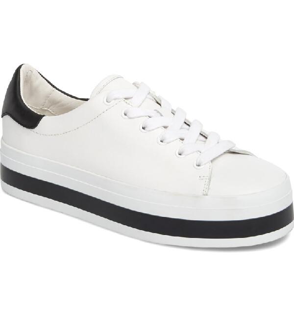 Alice & Olivia Ezra Sneaker In Pure White and Black