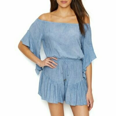 Elan Bell Sleeve Off The Shoulder Romper in Blue