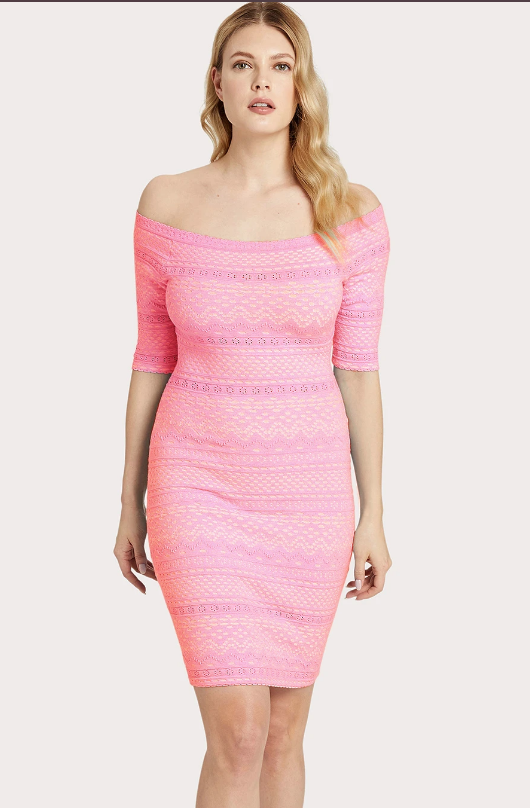 Milly Pointelle Off The Shoulder Dress in Candy/Petal