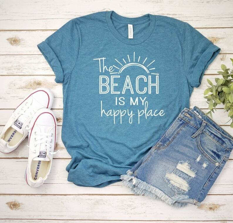 The Beach Is My Happy Place Tee Shirt in Blue