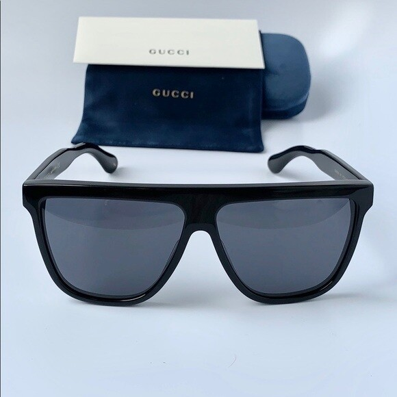 Gucci Sunglass Man Acetate In Black with Black Lenses