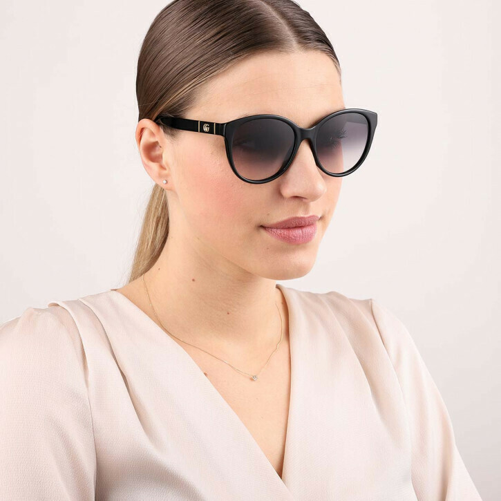 Gucci Sunglass Woman Acetate In Black With Shaded Grey Lenses