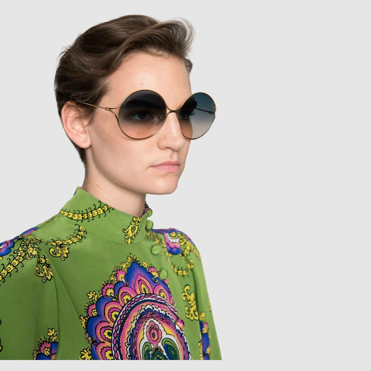 Gucci Sunglass Woman Metal In Gold with Blue And Red Shaded Lenses