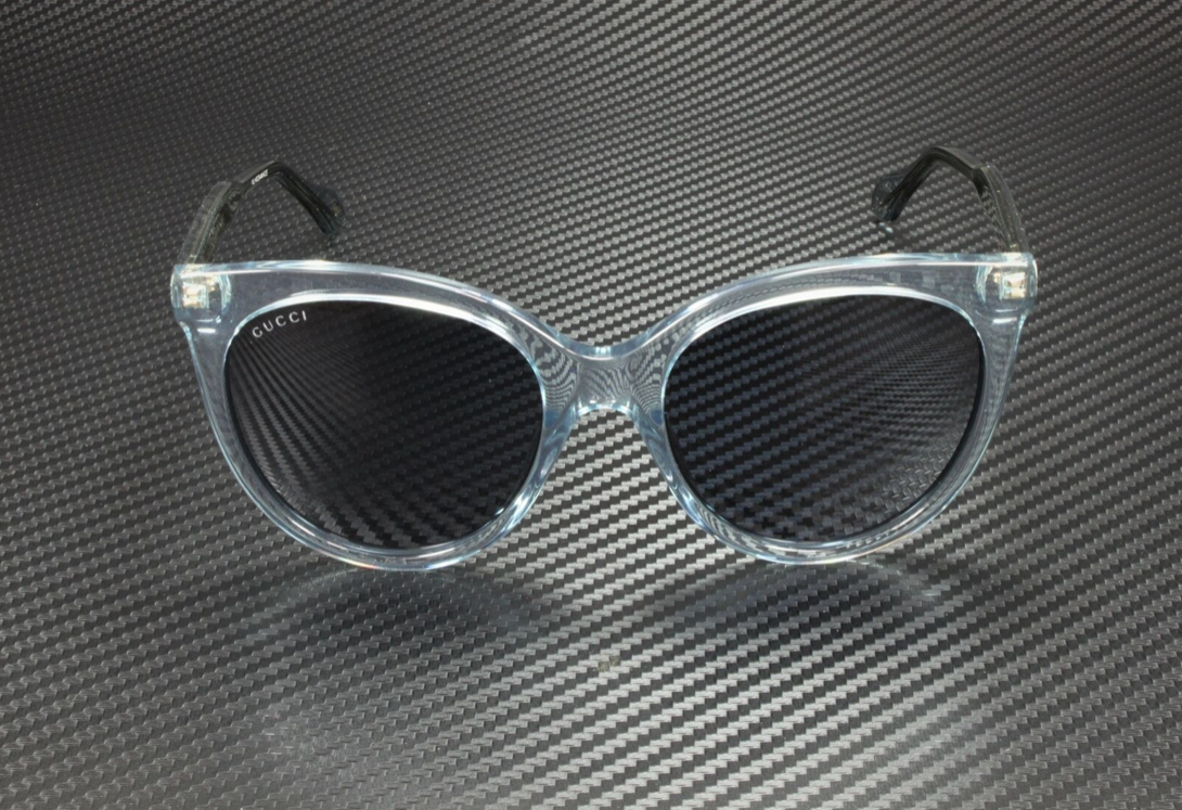 Gucci Sunglass Woman Acetate In Clear and Gold With Black Lenses