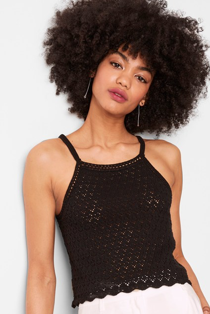 French Connection Nora Crochet Square Neck Top In Black
