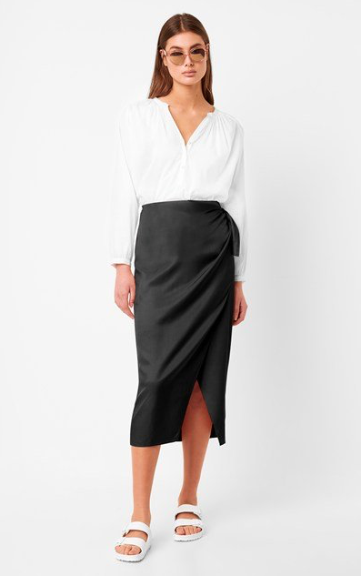 French Connection Gabina Drape Sarong Skirt In Black