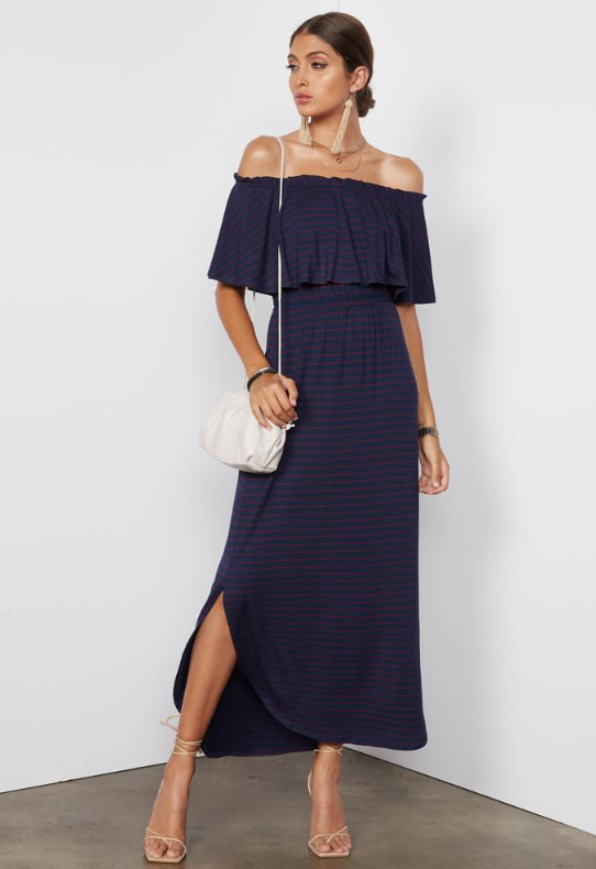 Tart Collections Kadence Dress in Navy With Red Stripes