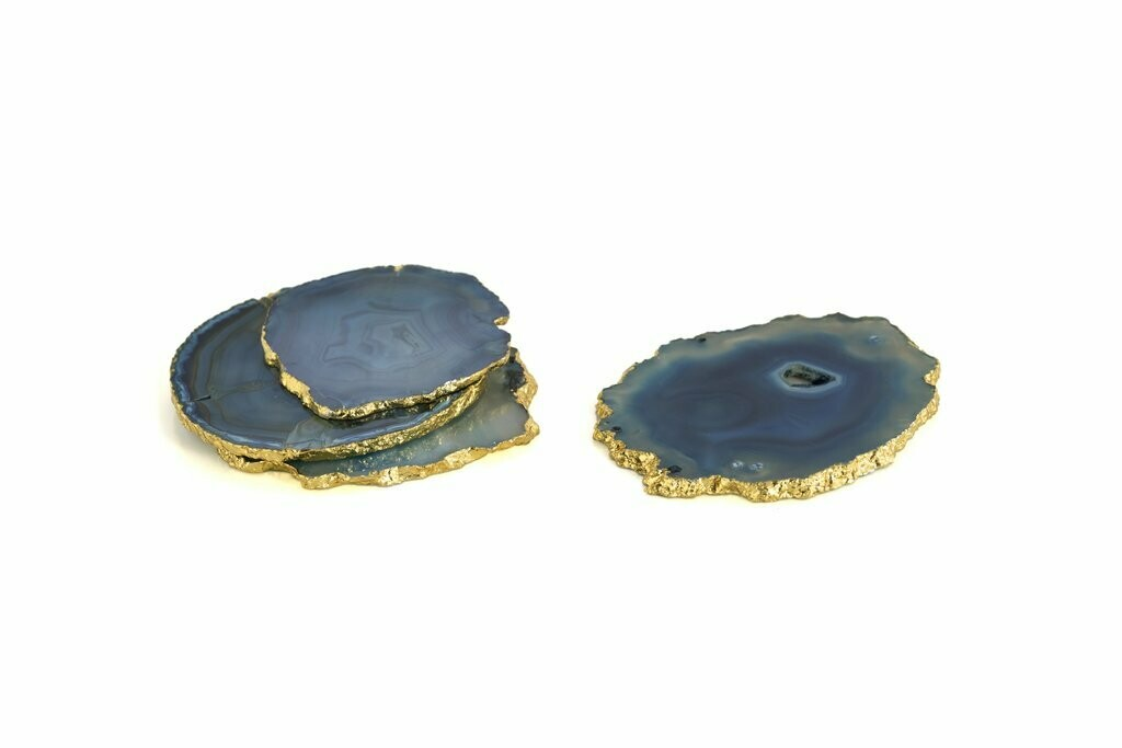 Shiraleah Set Of 4 Agate Coasters In Blue