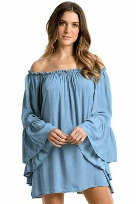 Elan Long Sleeve Off The Shoulder Top In Blue