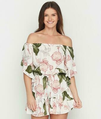 Elan Bell Sleeve Off The Shoulder Romper In Pink And Green Floral