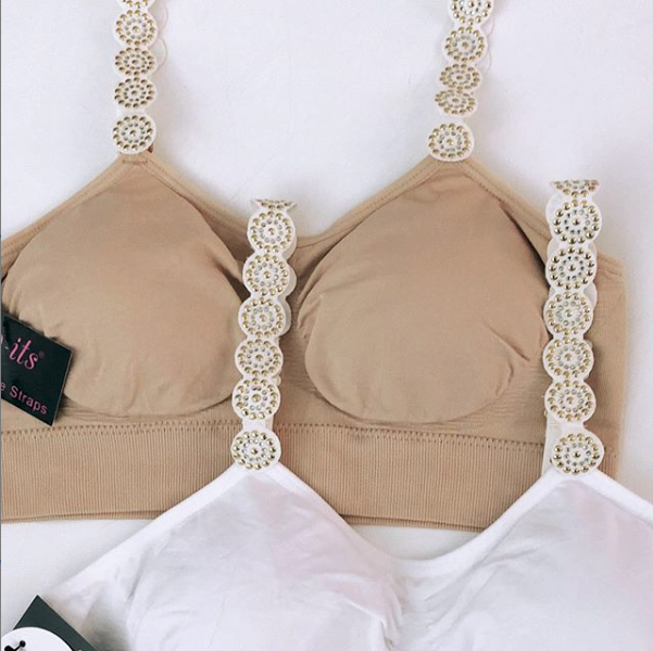 Strap-Its Nude Bra With Gold Rockstud Straps