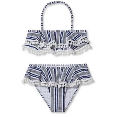 Stella Cove Striped Bikini With White Pom Poms