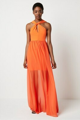 French Connection Panthea Jersey Twist Halter Maxi in Sunshine Orange