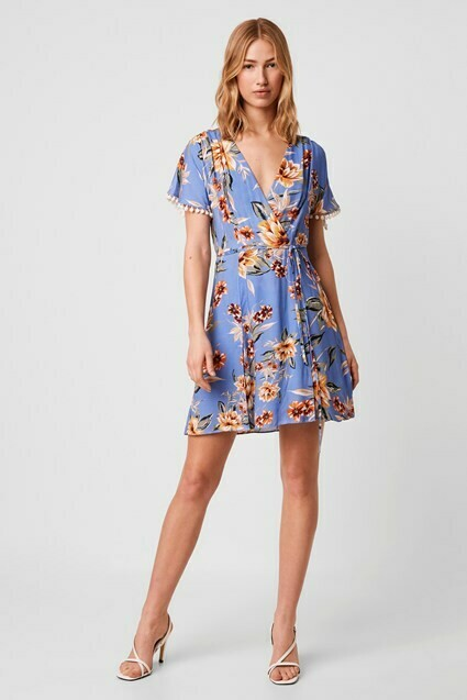 French Connection Claribel Floral Short Sleeve Dress in Blue Multi