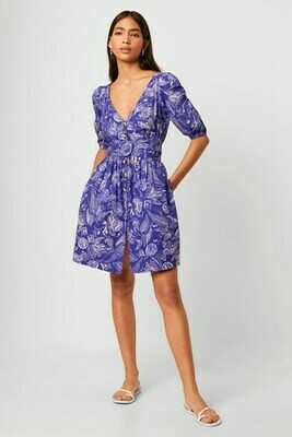 French Connection Bessima Poplin Short Sleeve V-Neck Dress in Clement Blue Multi