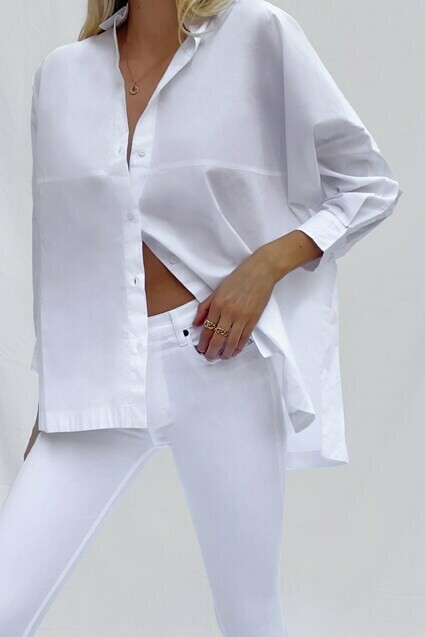 French Connection Eleticia Poplin Shirt in Linen White