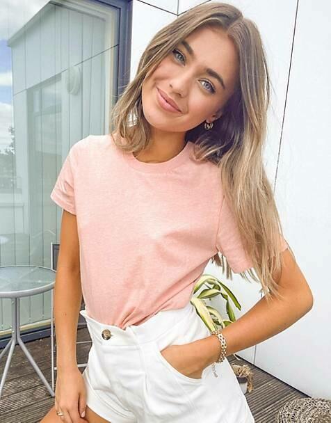 French Connection Zawa Boyfriend Fit T-Shirt in Light Grey/Tangerine