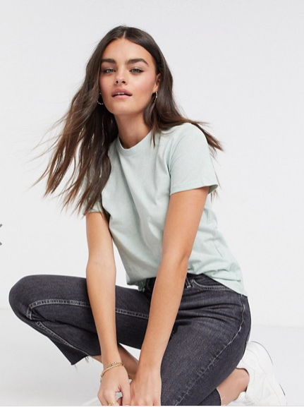 French Connection Zawa Boyfriend Fit T-Shirt in Light Grey/Mint