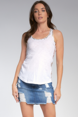 Elan Tank Top With Gold Lurex Trim In White