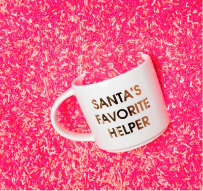 Chez Gagne Santa's Favorite Helper Gold Metallic Mug