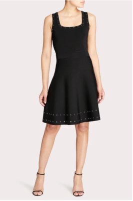 Milly Grommet Tiered Dress in Black