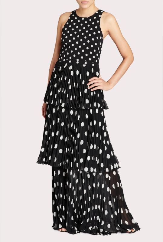 Milly Emiliana Pleated Polka Dot Maxi Dress in Black and White