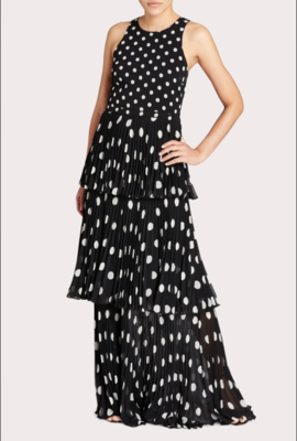 Milly Emiliana Pleated Polka Dot Maxi Dress in Black and White