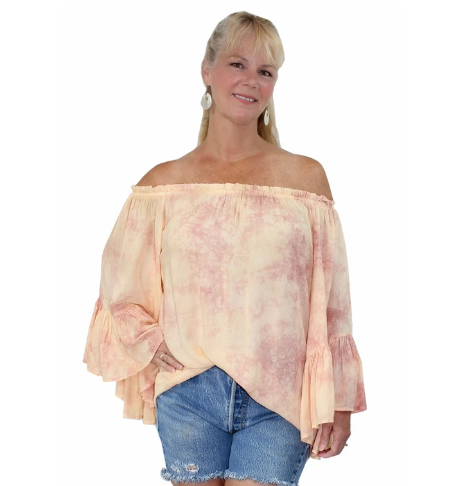 Elan Off The Shoulder Top in Light Tangerine and Mauve
