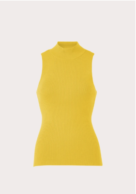 Milly Rib Turtleneck Shell in Pollen