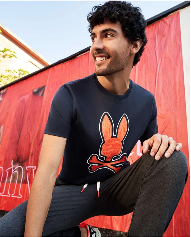 Psycho Bunny Kendal Graphic Tee in Navy