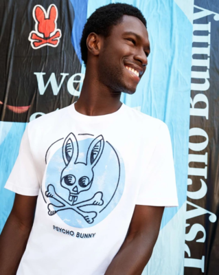 Psycho Bunny Chantry Graphic Tee in White