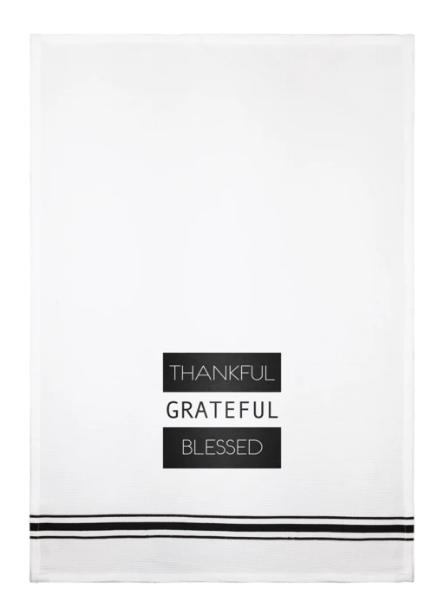 LA Trading Thankful Dish Towel in White
