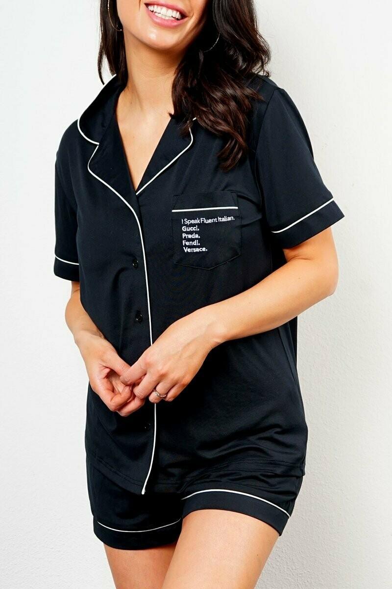 LA Trading Company Fluent Italian Short Pajama Set In Black