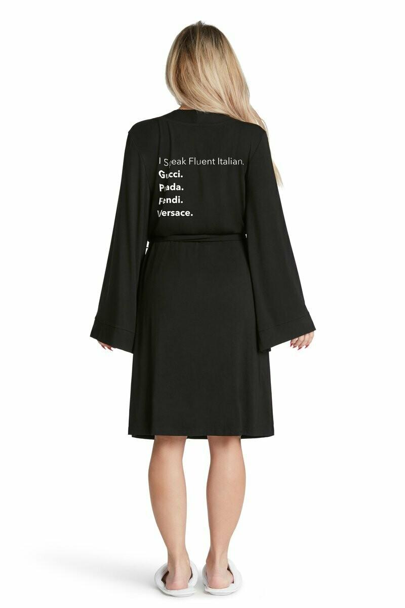 LA Trading Co Lightweight Robe Fluent Italian In Black