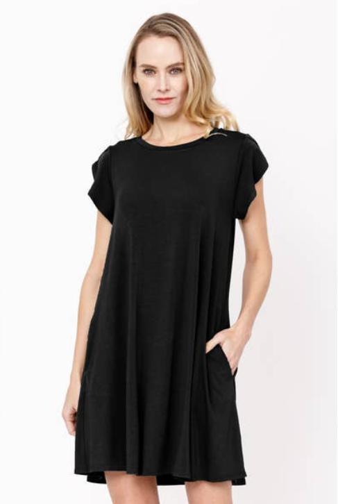 Jackie Z Bamboo Tulip Sleeve Dress In Black
